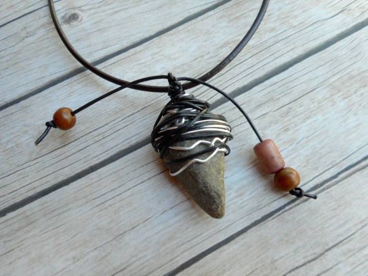 leather tribal bohemian necklace natural stone pendant leather and wire wrapped